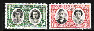 Southern Rhodesia-Sc#65-6-unused NH set-Royal Family visit-1947-
