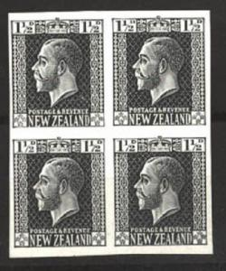 NEW ZEALAND GV surface printed 1½d plate proof in black imperf block.......81175