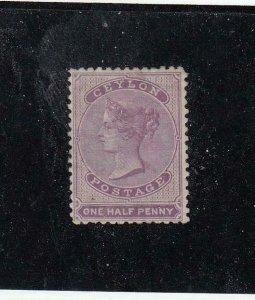 CEYLON (MK5040) # 14  FVF-MNG  1/2p  1858 QUEEN VICTORIA / LILAC   CAT VAL $200