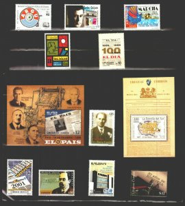 Newspaper press journallism all Uruguay MNH stamps issued collection lot