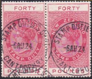 NEW ZEALAND 1880 Stamp Duty £40 11mm FORTY  used pair......................68008