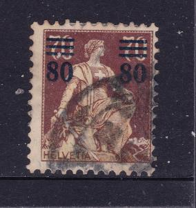 Switzerland a 80c on 70c overprint from 1915 used
