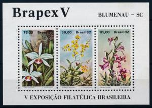 [63821] Brazil 1982 Flora Flowers Blumen Orchids Souvenir Sheet MNH
