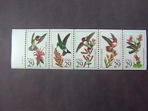 U.S.# 2642-2646(2646a)-MINT/NH-BOOKLET PANE OF 5--(P#111111)-HUMMING BIRDS--1992
