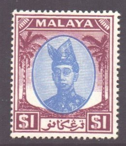 Malaya Trengganu Scott 65 - SG85, 1949 Sultan $1 MH*