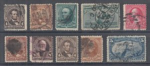US Sc 222/288 used 1890-1898 issues, 10 diff w/ faults