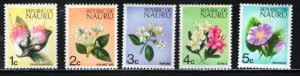 NAURU  91-95  MNH FLOWERS ISSUES 1973
