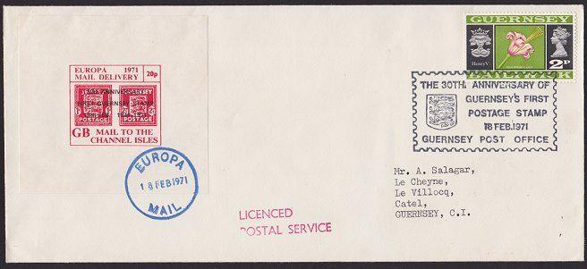 GB GUERNSEY 1971 Strike mail cover - Europa Mail Delivery...................5329