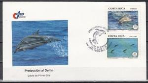 Costa Rica, Scott cat. 453-454. Dolphin Protection issue on a First day cover. ^