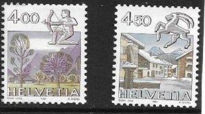 1982   SWITZERLAND  -  SG.  1044 / 1045  -  ZODIACS / LANDSCAPES  -  MNH