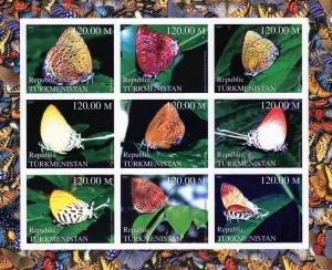 Turkmenistan 2000 BUTTERFLIES Sheet (9) Imperforated Mint (NH)