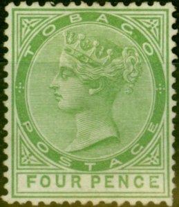 Tobago 1880 4d Yellow-Green SG10 Fine Mtd Mint