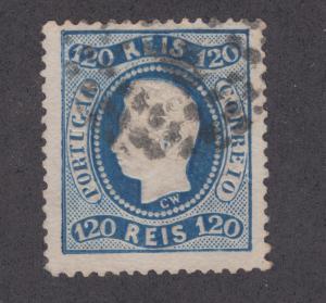 Portugal Sc 32 used 1867 120r typographed & embossed King Luiz, sm corner crease