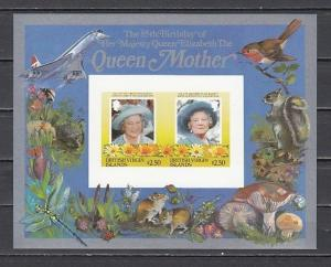 Virgin Islands, Scott cat. 519 A-B. Queen Mother, IMPERF s/sheet.