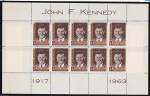 Dominican Republic # C137, John F. Kennedy, Full Sheet, NH, 1/2 Cat.