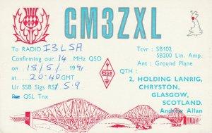 8654 Amateur Radio QSL Card  GLASGOW SCOTLAND