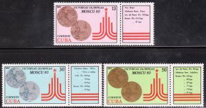 1980 Cuba Stamps Moscow Summer Olympics Games Complete Set  MNH