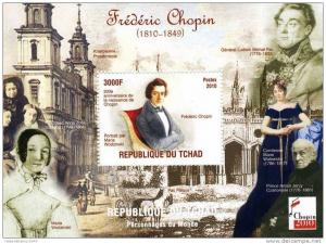 Chad 2010 Frederic Chopin (4) s/s Perforated mnh.vf