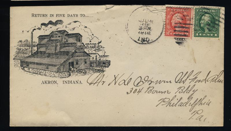 1918 Sc.498 & 499 ON ILLUSTRATED STONER & CO., AKRON, IN COVER TO PHILA