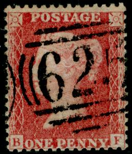 SG38, 1d pale red PLATE 36, LC14, USED. Cat £35. BF