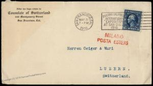 USA 1916 San Francisco Pan Am Milan Switzerland 5c Washington Cover 81897