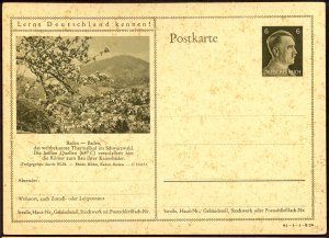 GERMANY 1941 6pf HITLER HEAD Learn to Know Germany Postal Card 41-1-1-B24 Unused