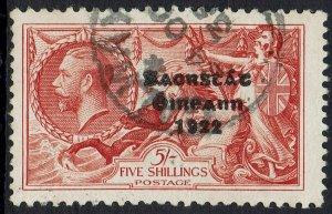 IRELAND 1935 KGV SEAHORSES 5/- RE-ENGRAVED USED
