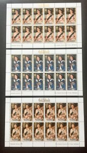 COOK ISLANDS, Royal Mini-Sheets, RARE 1987 SURCHARGE ISSUE, 9 sheets. Cat £600