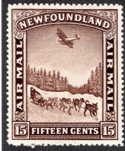 AM10, Newfoundland, 15c, Air Mail, XF, MLHOG, Dog Sled and Airplane, Pictor