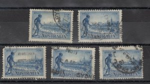 Australia 1934 3d Centenary x 5 Study/Research SG148 Fine Used J7876