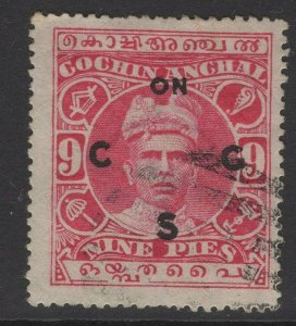 INDIA-COCHIN SGO13 1919 9p CARMINE USED