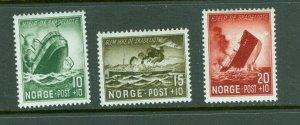 Norway. 1944 Set. Sinking Ships. Semi-Postal. MLH. Scott# B35-36-37.