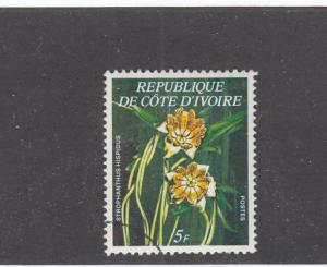 IVORY COAST # 447a VF-LIGHT USED 5f FLOWERS/ORCHIDS CAT VALUE $62