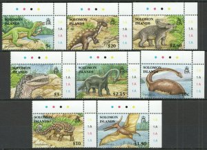 X1056 2006 SOLOMON ISLANDS FAUNA DINOSAURS #1305-2 MICHEL 12 EURO CORNER SET FIX