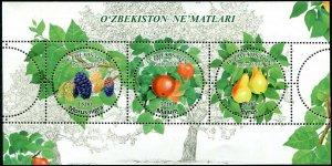 HERRICKSTAMP NEW ISSUES UZBEKISTAN Sc.# 891 Fruits Sheetlet of 3 Different