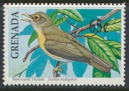 Grenada Birds SG 2158   Sc# 1879   Bare-eyed Thrush  MNH