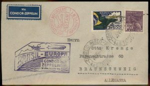 Brazil 1933 Graf Zeppelin Germany Si227A 5.SAF Cover 97431