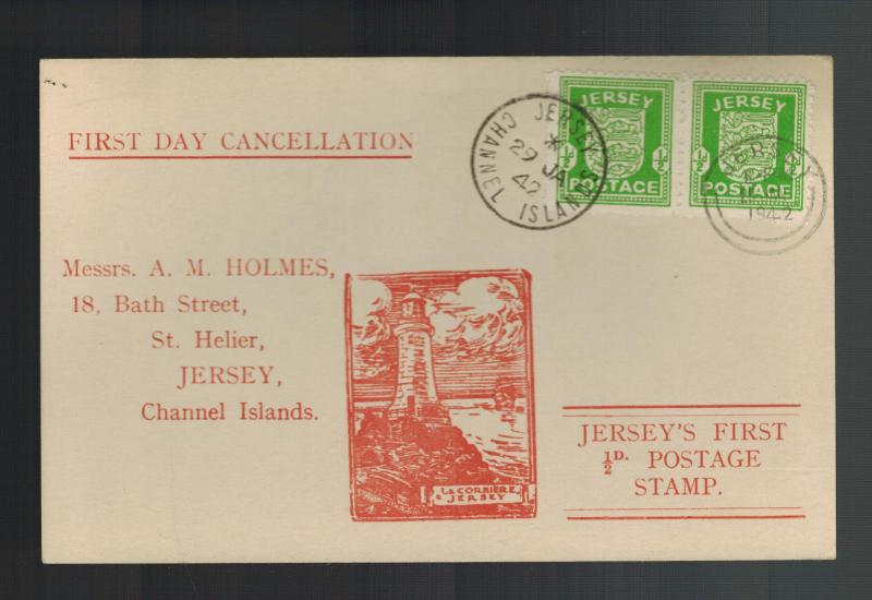 1942 Occupied Jersey Channel Island England first day cover fdc to AM Holmes