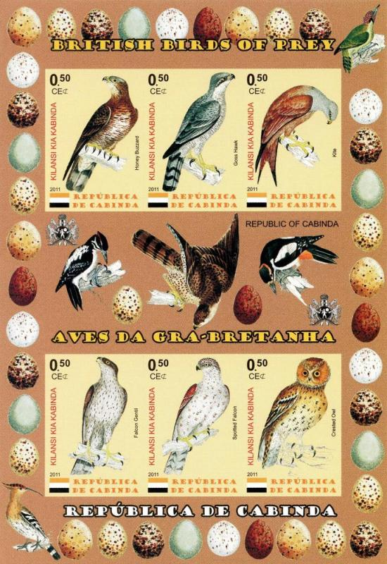 CABINDA KABINDA SHEET MNH IMPERF BIRDS OF PREY