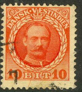 DANISH WEST INDIES 1908 10b FREDERIK VIII Portrait Issue Sc 44 VFU