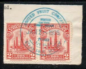 Colombia: 1935 1c. pair cancelled Fruit Ship Steamship Service