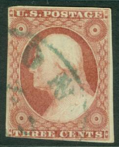 EDW1949SELL : USA 1853 Scott #11A Used. Green cancel. Nice stamps. Catalog $190.