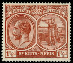 ST KITTS-NEVIS SG40a, 1½d red-brown, LH MINT.