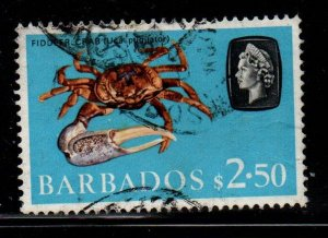 Barbados Sc 280 1965 $2.50 crab & QE II stamp used