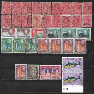 COLLECTION LOT OF 36 SAINT VINCENT 1913+ STAMPS CLEARANCE
