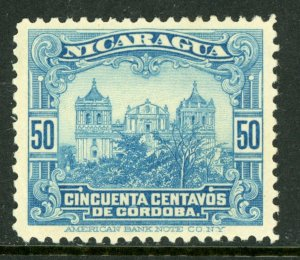Nicaragua 1914 Cathedral 50¢ Light Blue Rotary Printing Mint M465
