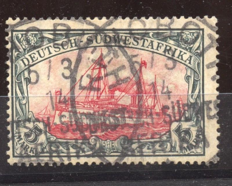 German Southwest Africa, 1914 Yacht, 5 Mark, Mi. 32 Aa, VF++ used, BPP cert.