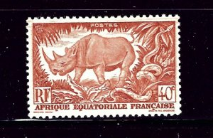 French Equatorial Africa 168 MLH 1946 Rhinocerous    (P76)