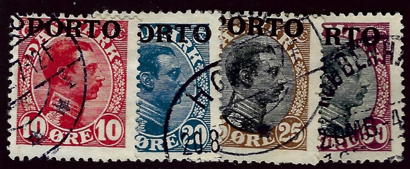 Denmark SC Porto J4-J7 Used F-VF hr. SCV$24.50...A World of Stamps!