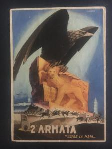 1942 Italy postcard cover Army Fieldpost Eagle and Lion 2nd Armata